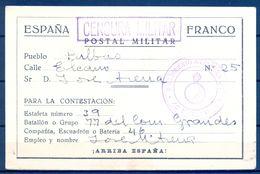 1938 ,  GUERRA CIVIL , TARJETA POSTAL MILITAR CIRCULADA A BILBAO DESDE EL FRENTE DEL EBRO , CENSURA , FRANQUICIA - 1931-Tegenwoordig: 2de Rep. - ...Juan Carlos I