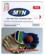 South Africa - SAF-M-118, Celebrating Cricket, Wicket Keeping Gloves, 3/03, Demo Card Without Chip - Afrique Du Sud