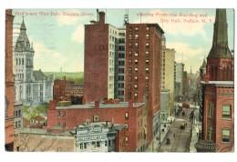 18643     Cpa   BUFFALO  : Bird's -eye Vieuw Niagara Street , Shoving Prudential Building And City Hall 1913 - Buffalo