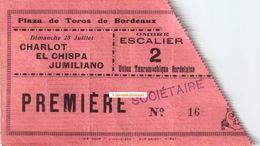 Ancien Billet De Corrida Du 28 Juillet (années 20) PLAZA DE TOROS Bordeaux 33 - Union Tauromachique - Scans Recto-verso - Tickets D'entrée