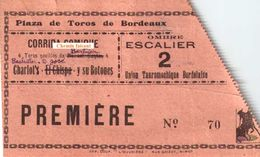 Ancien Billet De Corrida (années 20) PLAZA DE TOROS Bordeaux 33 - Union Tauromachique - Scans Recto-verso - Tickets D'entrée