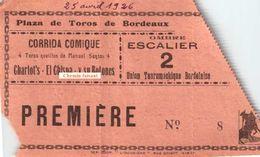Ancien Billet De Corrida Comique Du 25/04/1926 PLAZA DE TOROS Bordeaux 33 - Union Tauromachique - Scans Recto-verso - Tickets D'entrée