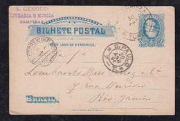 Brazil Brasil 1891 BP 14 40R Dom Pedro Stationery Card CAMPINAS Via RIO CLARO Via SAO PAULO To RIO - Entiers Postaux