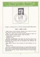 Information Sheet Germany 1974 World Cup FIFA Football - Berlin Chila - DDR (LAR6-15) - World Cup