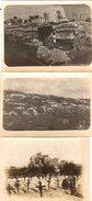 3 Photos Originales Guerre 1914/18 - Gamine Se Promenant Dans Les Tranchées, Abris Et Cimetière Vers 1910 - Ruines - Guerre, Militaire