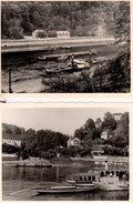 2 Photos Originales Batellerie - Hreusko & Rathen En 1959 - Trafic De Péniches Sur Le Rhin - Bateaux