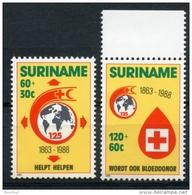 Surinam, Suriname, 1988, International Red Cross 125th Anniversary, MNH, Michel 1280-1281 - Surinam