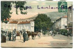 -  SAINT-PERAY- ( Ardèche ), La Place Du Marché, Diligence, Attelage, épaisse, Belles Couleurs, écrite, TTBE, Scans. - France