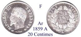 F-1859 A, 20 Centimes - E. 20 Centesimi