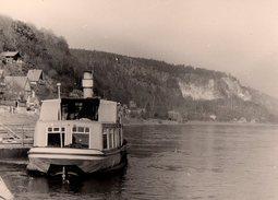 Photo Originale Bateau Fluvial - Péniche Vers 1960 Sur Le Rhin - Bateaux