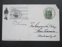 Norwegen 1924 Fram Karte 2 Stempel Polhavet. Arktischer Ozean / Schiff. 4 Sprachige Karte. Eisbär. NBr. 7. Polarmeer - Norwegen