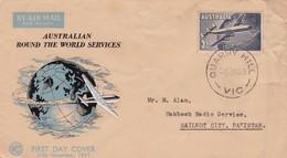 1958 AUSTRALIA TO PAKISTAN COVER WITH AEROPLANE STAMP. - Avions