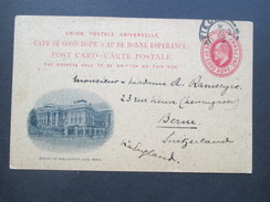 Südafrika Cape Of Good Hope/Kap Der Guten Hoffnung GA 1910 Privatganzsache.Houses Of Parliament Cape Town.In Die Schweiz - Südafrika (...-1961)