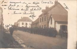 19 - CORREZE / 19580 - Gare De MERLINES  - Avenue Pierre Semard- Carte Photo -arrivée Des Troupes- Léger Défaut - - Other Municipalities