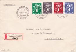 SCHWEIZLANDESAUSSTELLUNG 1939 - PAVILLON PTT : Lettre Recommandée Oblitérée Le 9.VIII.39 - Suisse