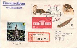"""DDR Amtl. GZS-Umschlag U 7 35(Pf)neben 80(Pf)darunter 20(Pf) Mehrfarbig DDR/BRD-Zusatz-""""Fischotter"""" TSt 24.9.90 GÖRLITZ - Covers - Used"""