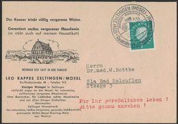 """XB45     Germany  Postkarte  Zeltingen 1961, Special Postmark """"Qualitätswein Von Der Mittelmoseledle"""" Weine,wine,vino - Vini E Alcolici"""