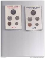 FDC-muntenset 1970 2 Mapjes In Karton Met Rood En Blauwe Opdruk  ZELDZAAM Oplage 5000 Stuks - 1951-1993: Baudouin I
