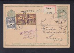 Hungary Registered Stationery Pecs To Leipzig - Hungary