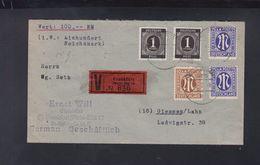 Alliierte Besetzung Wertbrief 1946 Frankfurt Nach Giessen - Bizone