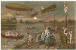 Surrealisme Avion  Dirigeable Tank Velo   Avec Enfants Nus Repopulation Multi Bébés  Patriotique - 1914-1918: 1ra Guerra