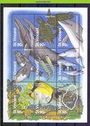 Nbu196 FAUNA WALVIS SCHILDPAD SEAL WHALE TURTLE FISH SHARK DOLPHIN MAP SEA MAMMAL MARINE LIFE ST. VINCENT 1995 PF/MNH - Maritiem Leven