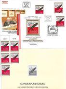 1506q: Presseclub Concordia Wien 1984., FDCs, 5 ** Marken, Schwarzdruck, Mustermarke - Sonstige