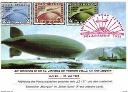 VIGNETTE Commemoration Block Deutsches Reich 1931 Mi 456-458 Polarfahrt Zeppelin LZ127 With Russian Ice-Breaker Malyguin - Brieven En Documenten