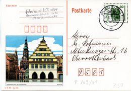 "DDR Amtl. GZS-Bildpostk. P109/01  30Pf. Oliv Mit Blindperforation ""Goethe-Schiller-Denkmal"" TSt 7.11.90 GLAUCHAU - Cartes Postales - Oblitérées"