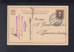 Czechoslovakia Stationery 1928Bodenbach To Bremerhafen - Czechoslovakia