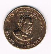 )  PENNING  JAMES A. GARFIELD 20 TH.  PRESIDENT  U.S.A. - Elongated Coins