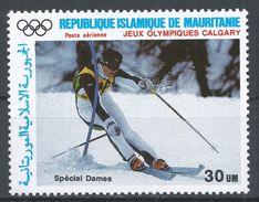 Mauritania 1987. Scott #C257 (MNH) Winter Olympics Calgary, Slalom - Mauritanie (1960-...)