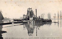 Saint-Avertin Crue Du Cher En 1907 La Drague Dragueur Péniches Gabares Batellerie Navigation - Saint-Avertin
