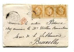 !!! PRIX FIXE : BALLON MONTE L'ARMAND BARBES POUR BRUXELLES AFFRANCH BANDE DE 3 DU N°28, TEXTE INTERESSANT - Marcophilie (Lettres)