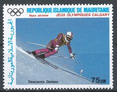 Mauritania 1987. Scott #C260 (MNH) Winter Olympics Calgary, Downhill Skiing, Descente - Mauritanie (1960-...)