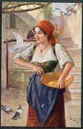 Gute Freund, Fräulein Füttert Tauben, Wiener Künstler Grüsse - Suess, Josef