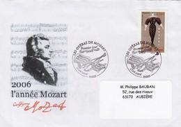 FRANCE LETTRE OBLITERATION PREMIER JOUR LES OPERAS DE MOZART PARIS 17.06.2006   /1 - Music