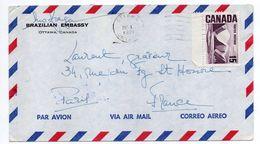 Canada--1971-Lettre De OTTAWA Pour PARIS (France)--timbre Seul Sur Lettre--personnalisée Embassade Brésil - 1952-.... Règne D'Elizabeth II