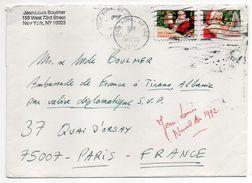 USA--1991-lettre De NEW YORK Pour PARIS (France)--timbres De Noel (père Noel) Sur Lettre--cachet - Cartas