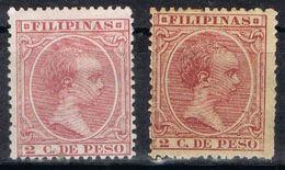 Sellos 2 Ctvos FILIPINAS Españolas, VARIEDAD Color, Num 80 - 80a * - Filippijnen