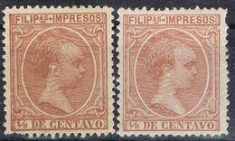 Sellos 1/8 Ctvos FILIPINAS Españolas, VARIEDAD Color, Num 108 - 108a * - Filippijnen