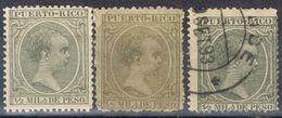 Sellos 1/2 Mil Peso PUERTO RICO, Colonia Española, VARIEDAD Color, Num 86-86a-86b º/* - Puerto Rico