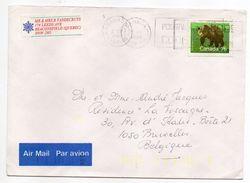 Canada--1989--lettre Du Québec  Pour Bruxelles (Belgique)--timbre (ours) Seul Sur Lettre--cachet + Indexation Jaune - 1952-.... Règne D'Elizabeth II