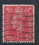 GB 1941  KG VI. 1d (o)  SG.486. Mi.222. (perfin.MJH)? - Great Britain