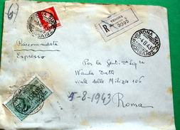 ITALIA 1943, ESPRESSO LIRE 1,25 SU BUSTA MILITARE DEI LANCIERI DI NOVARA VIAGGIATA - 1900-44 Victor Emmanuel III
