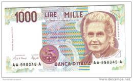 1000 LIRE MARIA MONTESSORI  SERIE AA....A N.C. 1990 FDS  LOTTO 1035 - [ 2] 1946-… : Repubblica