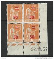 """FR Coins Datés YT 481 """" Paix 50 S. 80c. Orange """" Neuf** Du 14.12.39 - Coins Datés"""