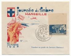 Enveloppe Illustrée DRAIM - Marseille Journée Du Timbre 1943 - Affr. 4F Beaune - Secours National - France