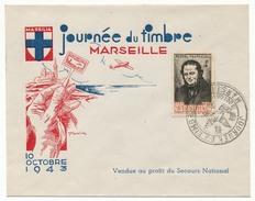 Enveloppe Illustrée DRAIM - Marseille Journée Du Timbre 1943 - Affr. 4F Stendhal - Secours National - France