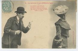 """FEMMES - FRAU - LADY - Jolie Carte Fantaisie Homme Et Femme """"Le Suiveur à Ses Différents âges """" - Edit. BERGERET - Femmes"""